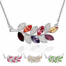 18K White Gold Plated Silver Swarovski Elements Crystal Leaves Pendant Gift AC