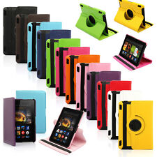 "360 Rotating PU Leather Case Cover w Stand For Amazon HDX 7"" Kindle Fire 2013"
