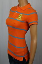 Ralph Lauren Orange Blue Striped Skinny Fit Polo Shirt Neon Yellow Crest NWT