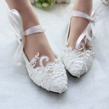 Flats Mary Janes Puttee Princess Lace Flower Wedding Shoes Pumps