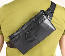 Men Genuine Leather Messenger Sling Chest Hip Belt Bum Fanny Pack Waist Bag