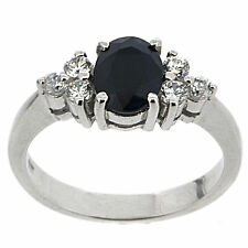 925 Sterling Silver 1.65 ct Natural Sapphire & White CZ Ring