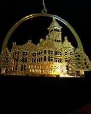 SLIPPERY ROCK gold tone metal 3-D Ornament very textured about 3 x 3 gold string