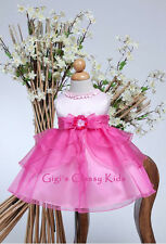 New Baby Girls Pink & Hot Pink Fuchsia Dress Wedding Pageant Party Easter KC802