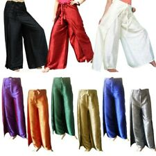 Women's Thai Silk Wrap Pants/Fisherman Sarong Harem Yoga Trousers Boho Wide Leg