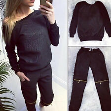 Sexy Casual Women Sports Tops Sweatshirt+Pants Track&Sweat Suits 2Pcs Tracksuit