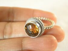 5ct. Round Yellow Citrine Solitaire 925 Sterling Silver Ring Sz 6, 8.5 nwt