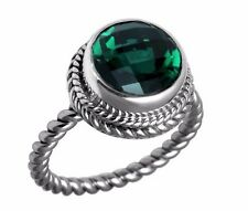 5ct. Round Green Quartz 925 Sterling Silver Twisted Band Ring Sz 6 7 8