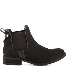 Steve Madden Gilte Black Nubuck Leather Pull On Fashion Ankle Bootie Boots