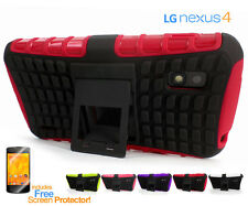 Nexus 4 Tough Heavy-Duty Anti-Shock TPU Case Cover with Kick Stand For LG
