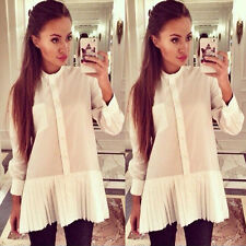 Women Long Sleeve Stand Collar Casual Shirt Top Button Pleated Top Blouse Dress