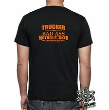 "Funny TRUCKER T-Shirt ""BAD ASS MOTHER"" Freight relocation Big Rig Humor BAR TEE"