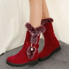 2015 Winter Womens faux suede mid calf boots fur furry pull on round toe shoes