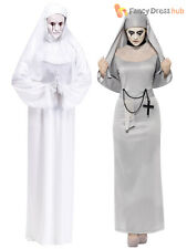 Ladies Halloween White Ghost Mother Superior Scary Mary Nun Fancy Dress Costume