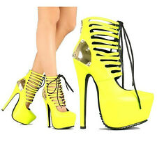 Red Kiss Neon Yellow Platform Pump Lace up Sandal High Heel Women's Shoe Angel
