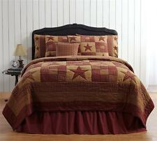 7PC NINEPATCH STAR COUNTRY PRIMITIVE QUILT SHAMS SKIRT PILLOW CASES BED SET VHC
