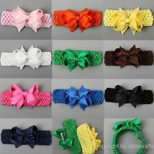 "10pcs Girls Baby Crochet Headband Hair Band Grosgrain Ribbon 3.5"" Hair Bow Clips"