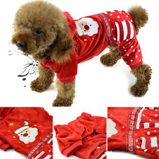 Small Dog Winter Apparel Fleece Coat Pet Puppy Warm Hoodie Jumpsuit Xmas Clothes