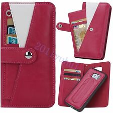 Leather Wallet+Cards Pouch+phone Case Cover 3 in 1 For Samsung Galaxy S6/S6 Edge