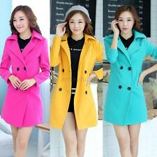 New Korean Women Double-Breasted Lapel Slim Coat Thick Woolen Windbreaker Jacket