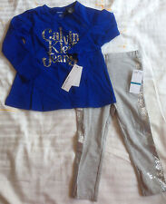 NWT CALVIN KLEIN JEANS Infant Toddler Girl 12-24M Top Shirt Jeggings 2-piece Set