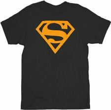 Adult Men's DC Comics Super Hero Superman Neon Orange Logo Black T-shirt Tee