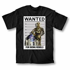 Adult Black Movie Star Wars Wanted Rebels Robot Droids C-3PO R2-D2 T-Shirt Tee