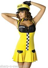 Ladies Sexy Yellow Taxi Cab Driver Job Uniform Fancy Dress Costume Outfit + Hat
