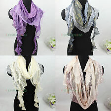 Fashion Women's Floral Mesh Sequins Trim Ruffle Trim Tassel Scarf Shawl Wrap New