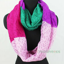 Women's Stylish Letter Stitching Soft Infinity Loop Cowl Voile Scarf Lady Shawl