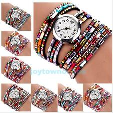 Classic Woman Multilayers Colorful Beads Crystal Quartz Bracelet Wrist Watch New