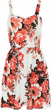 Womens Floral Print Strappy Crepe Bustier Mini Pleated Ladies Flared Dress 8-14