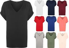 New Plus Size Womens Short Turn Up Sleeve Baggy Plain Top Ladies V-Neck T-Shirt