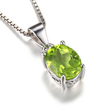 2.2ct Genuine Peridot Pendant Necklace Chain Solid 925 Sterling Silver Oval