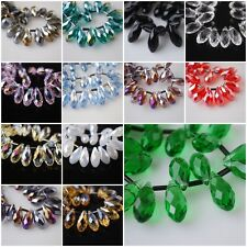 10Pcs Charms Faceted Teardrop Pendant Earring Loose Beads 8x16mm FREE