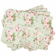 Set of 8 Placemats & Coasters Green Vintage Floral Shabby Chic Dining Table Mats