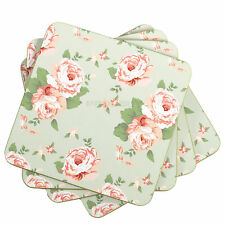 Set of 8 Green Vintage Floral Jennifer Rose Shabby Chic Drinks Coasters Mats