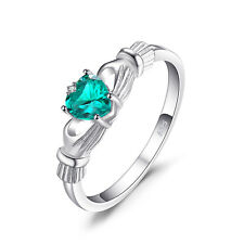 JewelryPalace 0.5ct Irish Created Nano Russian Emerald Ring 925 Sterling Silver