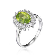 JewelryPalace 3ct Princess Genuine Peridot Ring Solid 925 Sterling Silver Gift