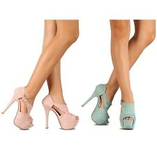 Qupid Blush Sage Suede Peep toe Pump High Heel Platform Buckle Women's Shoes
