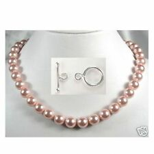 8mm 10mm Pink Sea Shell Pearl Necklace 925 Sterling Silver Toggle Clasp