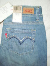 Levis Ultra Low Rise Flare Stretch Blue Denim Jeans Juniors Size 3, 7, 9, 11 New