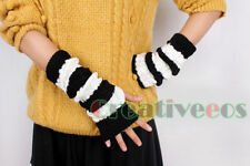 Fashion Women Girl's Cute Knit Striped Winter Fingerless Arm Warmer Gloves New