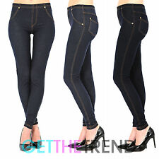 Womens High Waist Denim Look Feel Navy Black Jeggings Jean Leggings 8 10 12 14