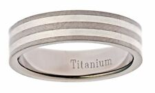 7mm .925 Silver Inlay Titanium Wedding Ring Comfort Fit Band
