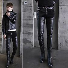 New fashion  Mens personality skinny slim trousers warm pu leather casual pants