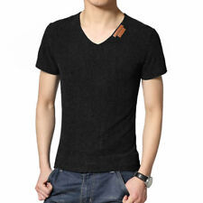 Man V Neck Short Sleeves Slim Fit Textured Casual Top