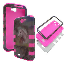 Samsung Galaxy Note 2 N7100 / Note II LTE N7105 Hybrid Silicon Case Horses Pink