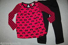 Toddler Girls L/S Outfit DARK PINK Bows Stripes BLACK PANTS 12 18 24 MO 2T 3T 4T