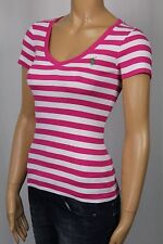 Ralph Lauren Pink White Short Sleeve Knit Top Shirt V-neck NWT